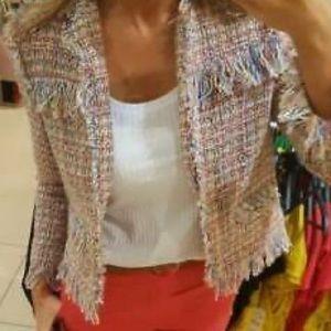 Zara Tweed Boucle Frayed Multicolored Jacket